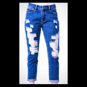 High Rise Destroyed BF Denim Pants